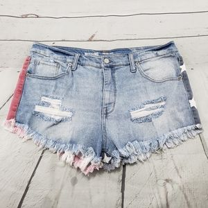 Mossimo Denim Shorts Size 14 /32 High Rise Cut Off